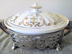 Syracuse China Casserole Silver Case Vintage Royal Porcelain Christmas Serving #SyracuseChina