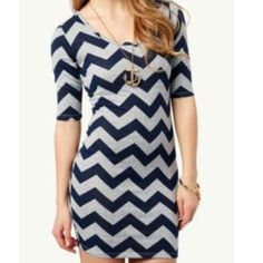 Navy And Gray Chevron Mini Dress
