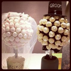 Homemade wedding sweet trees, funny