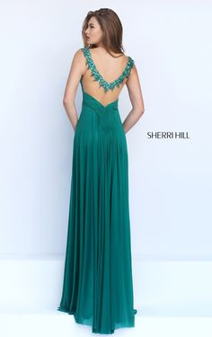 Beaded Sherri Hill 50093 Emerald Sexy Back Prom Dress Formal Dresses With Sleeves, Lovely Dresses, Beautiful Gowns, Elegant Dresses, Sherri Hill Prom Dresses, Grad Dresses, Sweet 16 Outfits, Dress To Impress, Ball Gowns