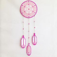 Pink dreamcatcher hama beads by coriander_dk