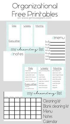 Organization Board Free Printables on www.girllovesglam.com