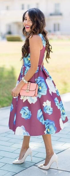 Bloomy Dress Night Date Chic Outfit Idea by A Keene Sense Of Style
