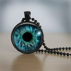 Eyeball Necklace  Glass Dome Pendant  24 inch by quirkycottage, $15.00