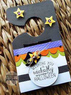 Door hanger by Jen del Muro. Reverse Confetti stamp set: Cast a Spell. Confetti Cuts: Hanging Out, Cast a Spell, Double Edge Scallop Border and Oh My Stars. Halloween gift. Halloween party favor.