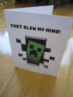 That blew my mind! Minecraft thank you card