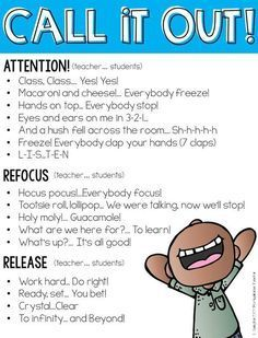 Quieting the Chatter: 5 Tips for Dealing with A Chatty Class Call and response attention getters free resource- Love these! Quieting the Chatter: 5 Tips for Dealing with A Chatty Class Call and response attention getters free resource- Love these! Classroom Behavior Management, Behavior Plans, Behavior Charts, Behaviour Management, Discipline In The Classroom, Behavior Bingo, Classroom Expectations, Management Tips, 3rd Grade Classroom