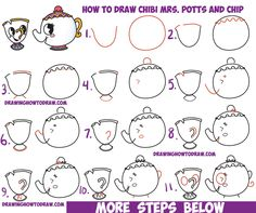 How to Draw Cute Kawaii / Chibi Mrs. Potts and Chip from Beauty and the Beast Easy Step by Step Drawing Tutorial for Kids