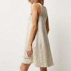 Beige printed swing dress