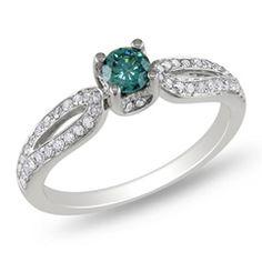Zales.com: 1/2 CT. T.W. Enhanced Blue and White Diamond Split Shank Ring in 14K White Gold