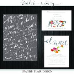 Watercolor/Calligraphy Wedding Invitation Design by BPinvites, $175.00