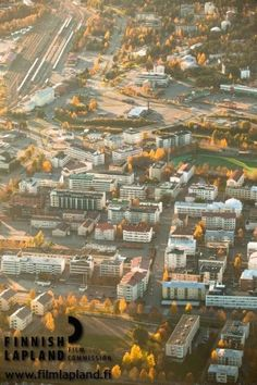 Aerial view of the city in Rovaniemi, Finnish Lapland. Photo by Jani Kärppä. #filmlapland #finlandlapland #arcticshooting