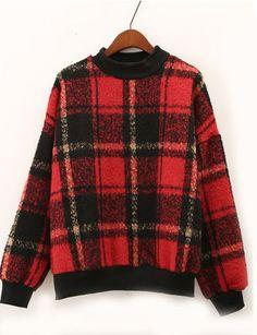 Plaid Vintage Red Sweatshirt