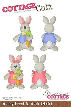 Cottage Cutz-4x6 die - Bunny Front & Back      Item Number: COT-4x6-047  Your Price: $24.95
