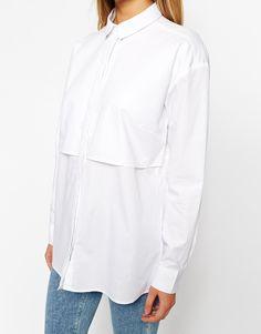 Image 3 ofASOS Boyfriend White Shirt with Double Layer