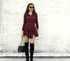 #otk #over #knee #boots #plaid #mini #dress #chanel #bag #outfit #ideas #street #style #fashion #red #black