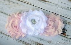 Shabby flower hair clip, Headband, Girls hair bows, Wedding, Flower girl gift, Pink baby headband, Flower girl hair accessory