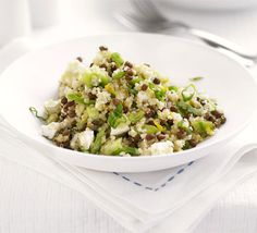Quinoa-Lentil-and Feta Salad: Quinoa, a protein-rich seed, makes a great substitute for rice or couscous