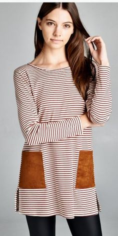 9bad9ec905d Burgundy Striped Shirt with Leather Pockets Affordable Dresses