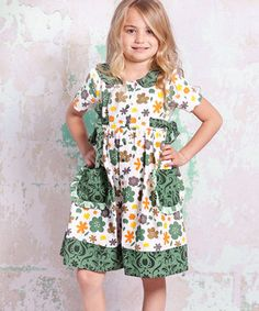 Another great find on #zulily! White & Green Monaco Laura Dress - Infant, Toddler & Girls by Jelly the Pug #zulilyfinds
