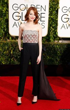 Emma Stone's 2015 Golden Globes Pantsuit Is A Fashion Girls Dream- Huffington Post Canada