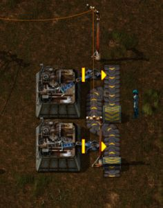 Factorio: balanced factory output. Only 2 wide, no slowdown on straight exit conveyor
