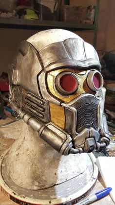 Replica Guardians of the galaxy Star-Lord mask commisioned from www.gryphonseggproductions.com other commissions at gryphonsegg@gmail.com #starlord #guardiansofthegalaxy #cosplay #halloween #costume #movieprop
