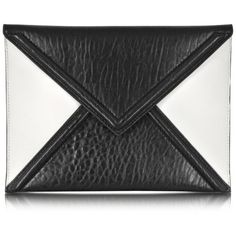 McQ Alexander McQueen Black and White Mix Lether Envelope Clutch found on Polyvore
