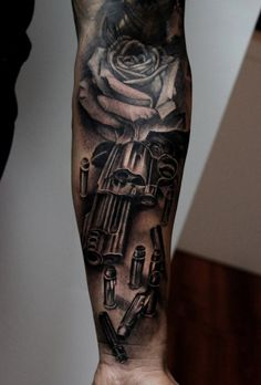 Tattoo revolvers with cartridges  - http://tattootodesign.com/tattoo-revolvers-with-cartridges/  |  #Tattoo, #Tattooed, #Tattoos