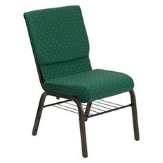 Flash Furniture HERCULES Series 18.5''W Church Chair in Green Patterned Fabric with Book Rack - Gold Vein Frame