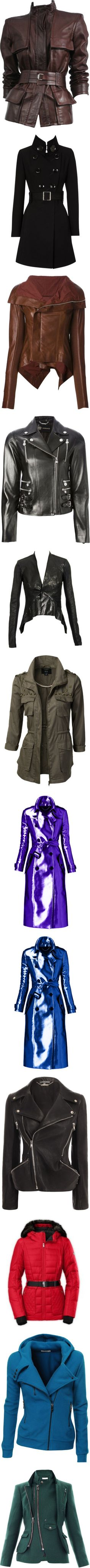 Coats, Jackets, Vests, etc. 6 by just-call-me-chuck on Polyvore featuring women's fashion, outerwear, jackets, coats, tops, coats & jackets, multiple, leather jacket with belt, brown leather jacket and genuine leather jacket