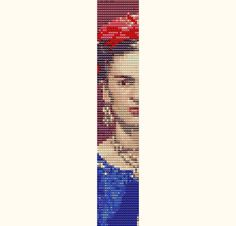 Frida Kahlo Face Loom Bead Weaving or 2 Drop Peyote Stitch Bracelet Pattern - Frida 9