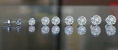 Round simulated diamond- Diamond Veneer Stud earrings set in Sterling silver.