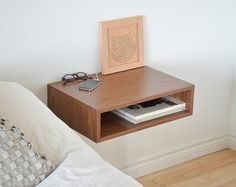Floating end table nightstand solid walnut bedroom bedside by tealandgold on Etsy (null) Floating Tv Shelf, Floating Shelves Kitchen, Floating Nightstand Ikea, End Table Sets, End Tables, Walnut Bedroom, Bedside Storage, Shelf Nightstand, Home Decor Ideas