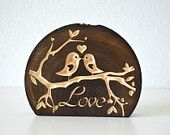 Love Birds Wedding Cake Topper, rustic wood topper