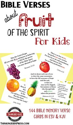 Bible Verses about Fruit of the Spirit for Kids is part of Kids Crafts Bible Memory Verse - Teach your kids all about the fruit of the Spirit with 144 Bible memory verse cards! Memory Verses For Kids, Verses For Cards, Bible For Kids, Kids Bible Verses, Bible Lessons, Lessons For Kids, Object Lessons, New Fruit, Bible Teachings