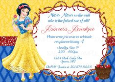 Snow White Printable Birthday Party Invitation plus FREE blank matching printable thank you card