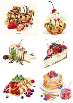 Discover recipes, home ideas, style inspiration and other ideas to try. Dessert Illustration, Watercolor Illustration, Cute Food Art, Cute Art, Cute Food Drawings, Food Sketch, Watercolor Food, Food Painting, Food Illustrations