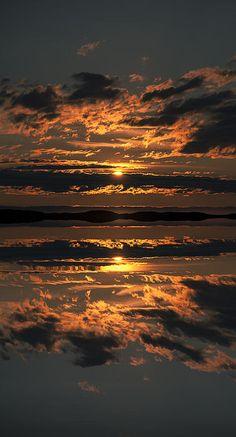 Sunset over the Flatanger archipelago in Norway