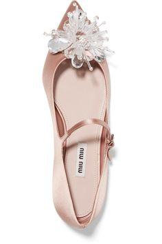 Miu Miu - Embellished Satin Point-toe Flats - Antique rose