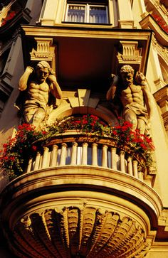 Architectural detail on exterior of Palace Hotel. Zagreb, Croatia
