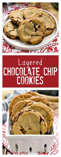 Layered Chocolate Chip Cookies | Dark Brown sugar and layers of bittersweet chocolate shards make these a one of a kind chocolate chip cookie! @lizzydo