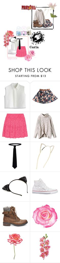"""""""Fairy Tail : Carla"""" by silkyunicorn ❤ liked on Polyvore featuring Chicwish, DKNY, RED Valentino, Cara, Converse, Steve Madden, Universal Lighting and Decor and Laura Cole"""