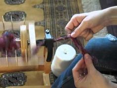 How to core spin silk waste yarn on a spinning wheel - YouTube