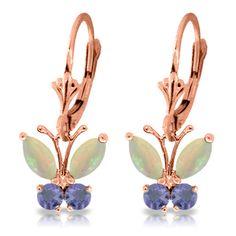 $ 1225 MSRP 1.39 Ct Butterfly Earrings Opal Tanzanite 14k Rose Gold | eBay