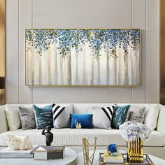 Framed painting Modern wall art abstract flower blue and green tree Paintings on canvas art extra Large Wall Pictures Silver Leaf Painting, Abstract Tree Painting, Flower Painting Canvas, Abstract Flowers, Abstract Canvas, Painting Frames, Modern Art Paintings, Modern Wall Art, Tree Paintings