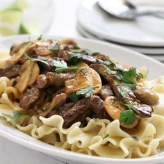 Slow cooker Beef Stroganoff. No cream of soup. (Can substitute brandy for the cognac)