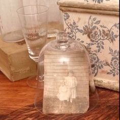 Old photos under glass bell jars, cool!