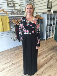 Myra Floral Top Maxi Dress-Black - The Style Bar Boutique  - 1