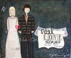Mixed media canvas for a wedding present